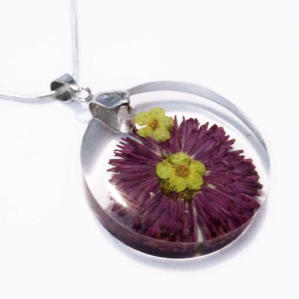pendentif-paquerette fleur violette collier original bijou unique cadeau femme