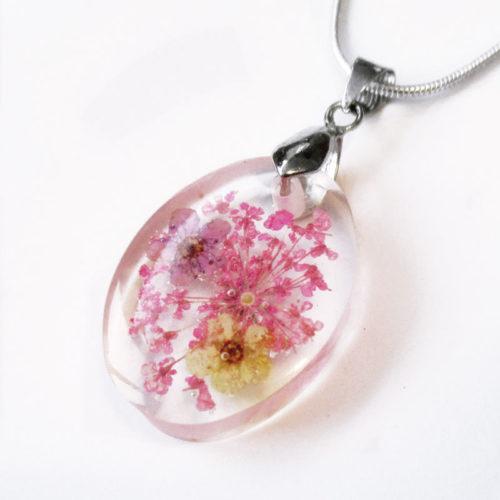 pendentif-rosa fleur violette collier original bijou unique cadeau femme