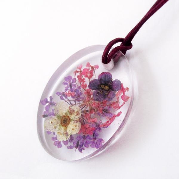 pendentif lilas résine bijou fleurs cadeau nature collier végétal bijou floral femme