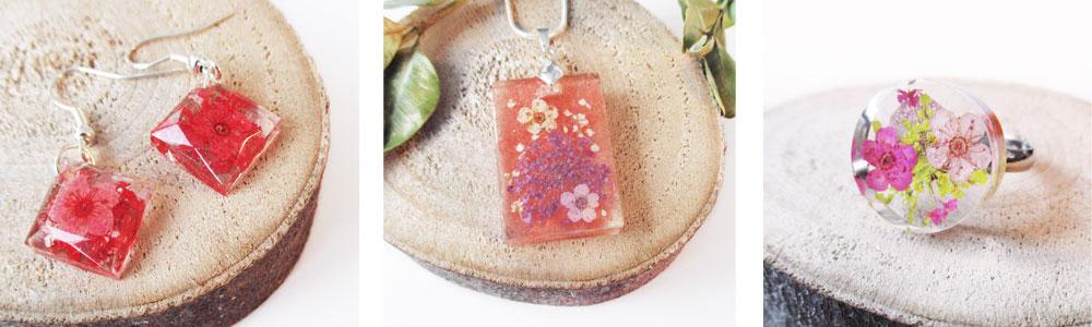 bijou floral fleur bijoux résine inclusion langage des fleurs