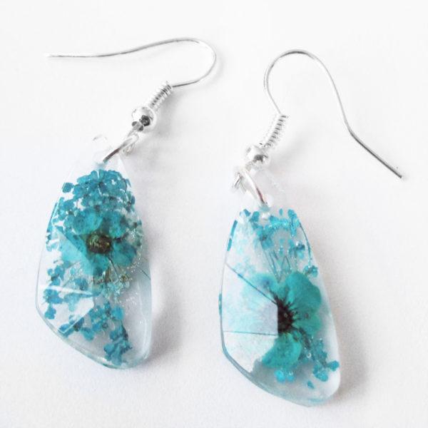 boucles d'oreilles bleu turquoise inclusion resine fleur bijou