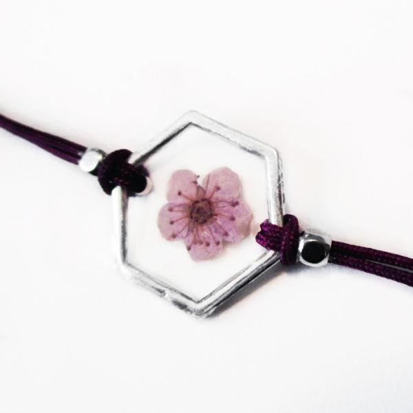 bracelet rouge inclusion resine fleur bijou