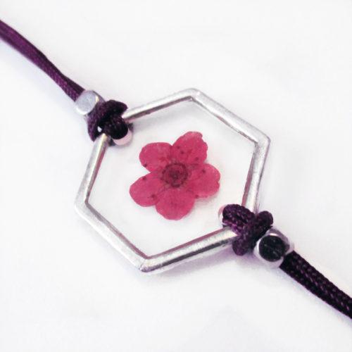 bracelet violet inclusion resine fleur bijou
