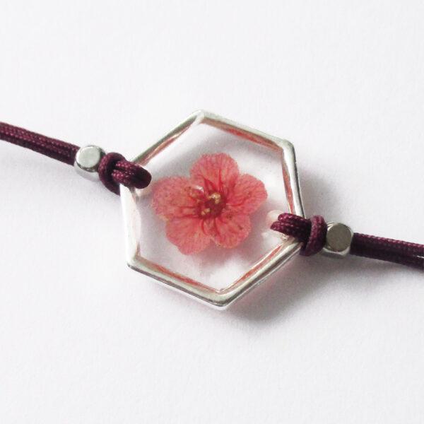 bracelet mika prune inclusion resine fleur bijou