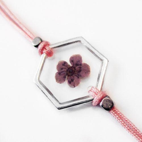 bracelet rose inclusion resine fleur bijou