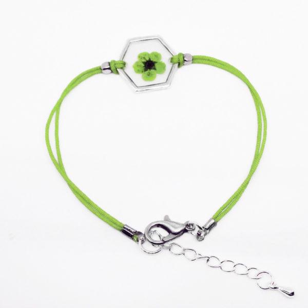 bracelet vert inclusion resine fleur bijou
