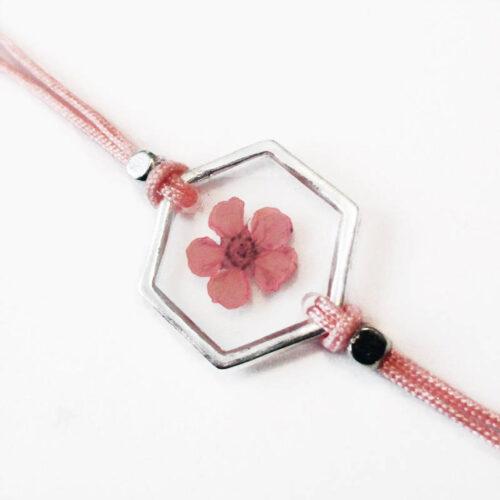 bracelet rosa inclusion resine fleur rose bijou