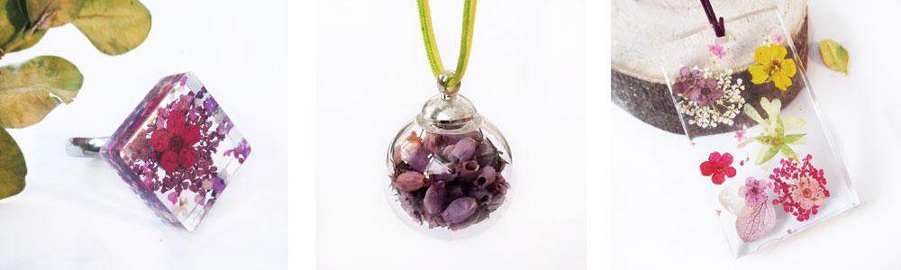 bijou-floral-bijoux-fleurs-resine inclusion nature cadeau femme