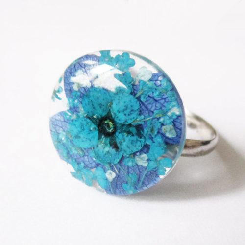 bague alya bleu bijou rose résine fleur personnalisable-bijou-floral-cadeau-nature-femme bijoux nature