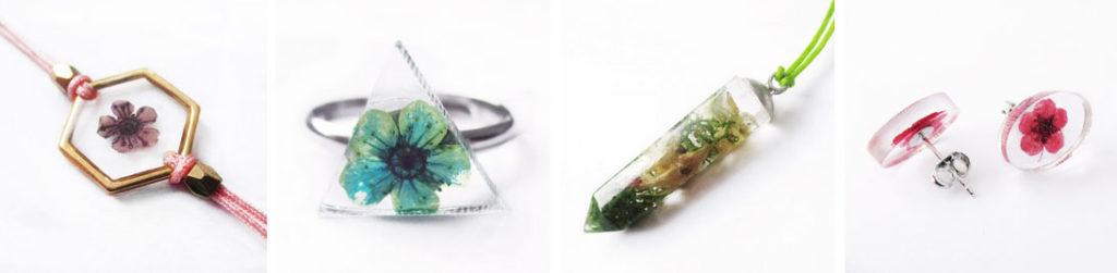 bijou-floral-resine bijoux-fleurs-resine inclusion nature cadeau femme