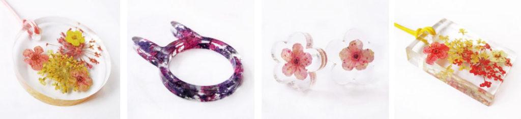 bijoux en resine bijoux fleurs inclusion nature cadeau femme