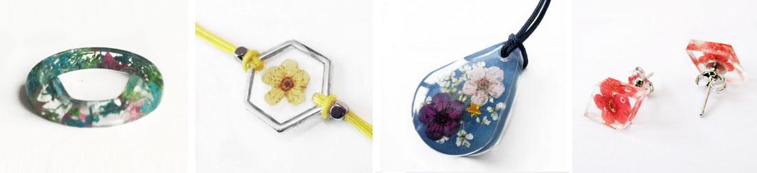 bijoux résine fleurs nature bijou floral création végétale fait main