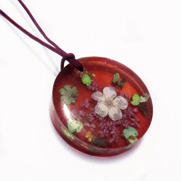 pendentif diana rouge collier floral résine fleurs cadeau bijou femme nature