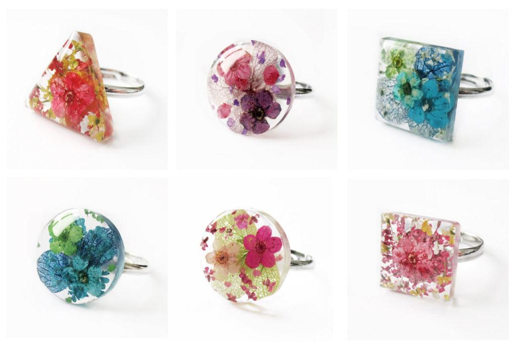 bijou fleur bague florale bijou nature fleurs naturelles résine cadeau femme unique