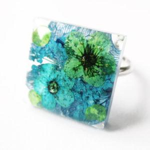 bague océano bijou bleu mer océan resine-fleur-personnalisable-bijou-floral-cadeau-nature-femme