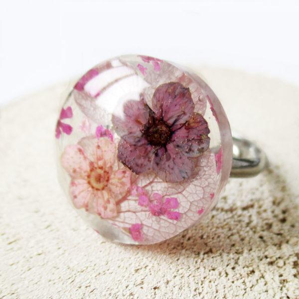 bague rosée d'été-bijou-végétal-resine-fleur-personnalisable-bijou-floral-cadeau-nature-femme