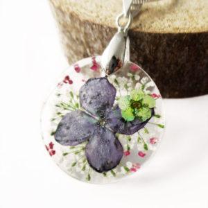 pendentif-elora bijoux nature résine fleurs naturelles lilas argent 925 sterling cadeau femme bijou floral