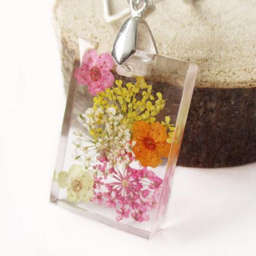 pendentif mimosa résine d'inclusion bijou fleurs naturelles cadeau floral collier végétal bijou nature femme argent sterling 925