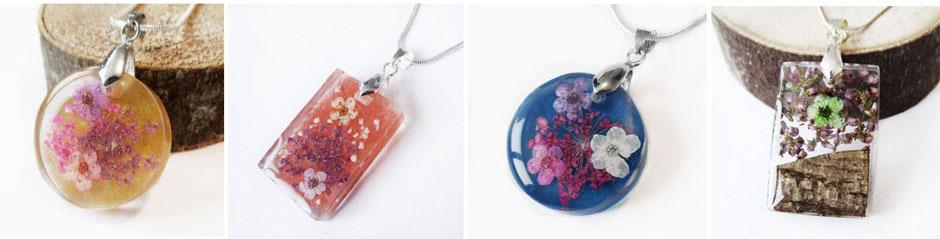 bijoux fleurs lanaflore résine d'inclusion fleur naturelle bijou nature cadeau femme collier-argent 925
