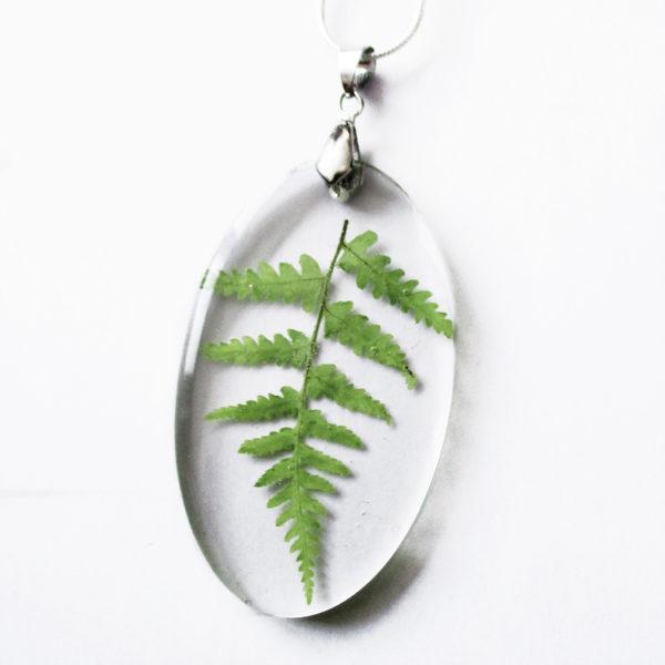 pendentif feuille de fougère collier végétal résine d'inclusion bijoux nature fleurs naturelles cadeau floral femme argent sterling 925