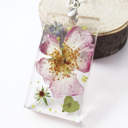 pendentif eden collier végétal résine d'inclusion bijoux nature fleurs naturelles cadeau floral femme argent sterling 925