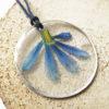 pendentif maya résine d'inclusion bijoux nature fleurs naturelles cadeau floral collier végétal bijou lilas femme argent sterling 925