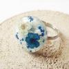 bague béryl bleu océan résine d'inclusion fleurs séchées bijoux nature bijou végétal bague florale