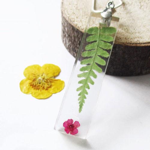 pendentif lula collier fougère résine d'inclusion bijoux nature fleurs naturelles cadeau floral collier végétal femme argent sterling 925