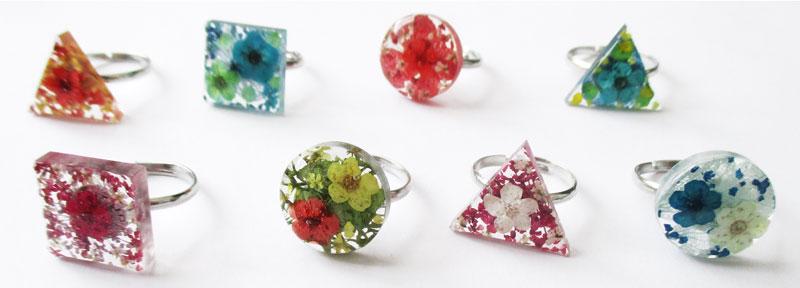 bijou fleurs bijoux nature art floral résine d'inclusion cadeau femme fleuri
