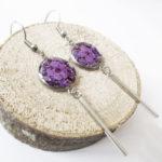 Boucles d'oreilles Althéa violet bijoux nature violette résine inclusion lanaflore bijoux végétal fleurs naturelles cadeau femme original