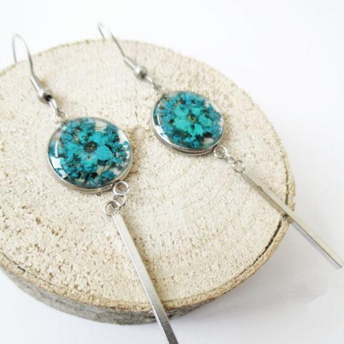 Boucles d'oreilles Melodia bleu bijoux nature turquoise résine inclusion lanaflore bijoux végétal fleurs naturelles cadeau femme original