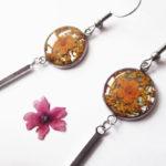 Boucles d'oreilles Sasha orange bijoux nature résine inclusion lanaflore bijoux végétal fleurs naturelles cadeau femme original