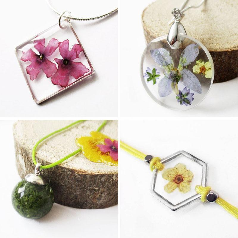 nature-en-automne-bijou-floral-resine-fleurs-nature collier végétal résine d'inclusion bijoux bio fleurs naturelles cadeau floral femme argent sterling 925