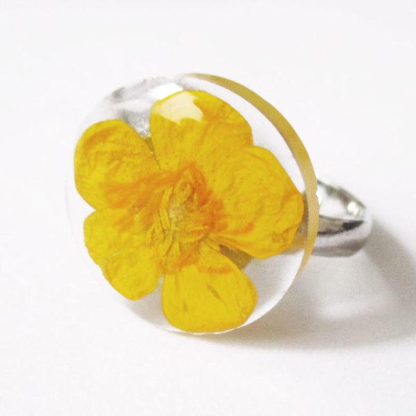 bague bouton d'or bijou rose résine fleur personnalisable-bijou-floral-cadeau-nature-femme bijoux nature