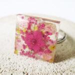 bague celia rose bijou rose résine fleur personnalisable-bijou-floral-cadeau-nature-femme bijoux nature