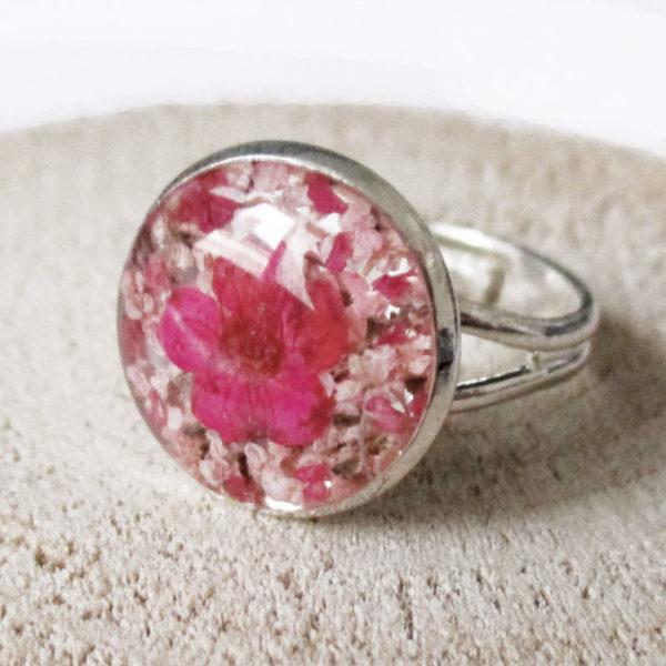 bague maelle bijou rose résine fleur personnalisable-bijou-floral-cadeau-nature-femme bijoux nature