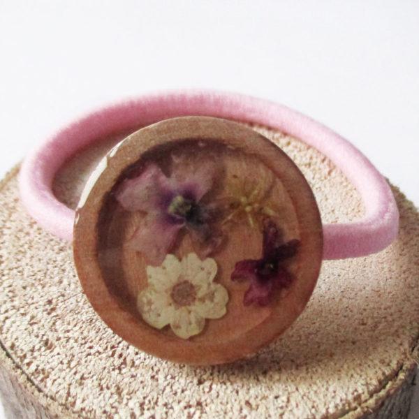 chouchou rond en bois et fleurs sakura kawaii accessoire pour cheveux élastique mignon cadeau femme fleur bijou floral bijoux nature fille