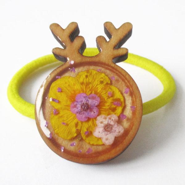 chouchou cerf shika kawaii accessoire pour cheveux élastique mignon cadeau femme fleur bijou floral bijoux nature fille