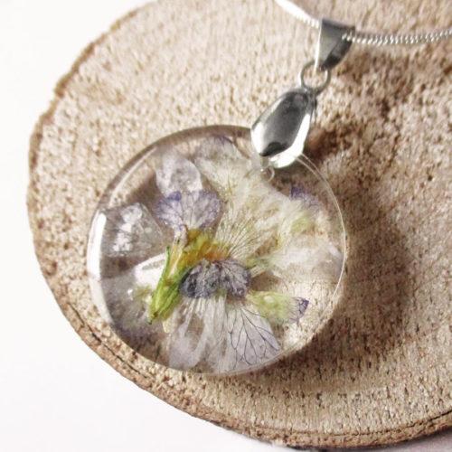 pendentif jane résine d'inclusion bijou nature fleurs naturelles cadeau floral collier végétal bijou nature femme argent sterling 925