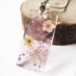 pendentif olympe rose résine d'inclusion bijou nature fleurs naturelles cadeau floral collier végétal bijou nature femme argent sterling 925