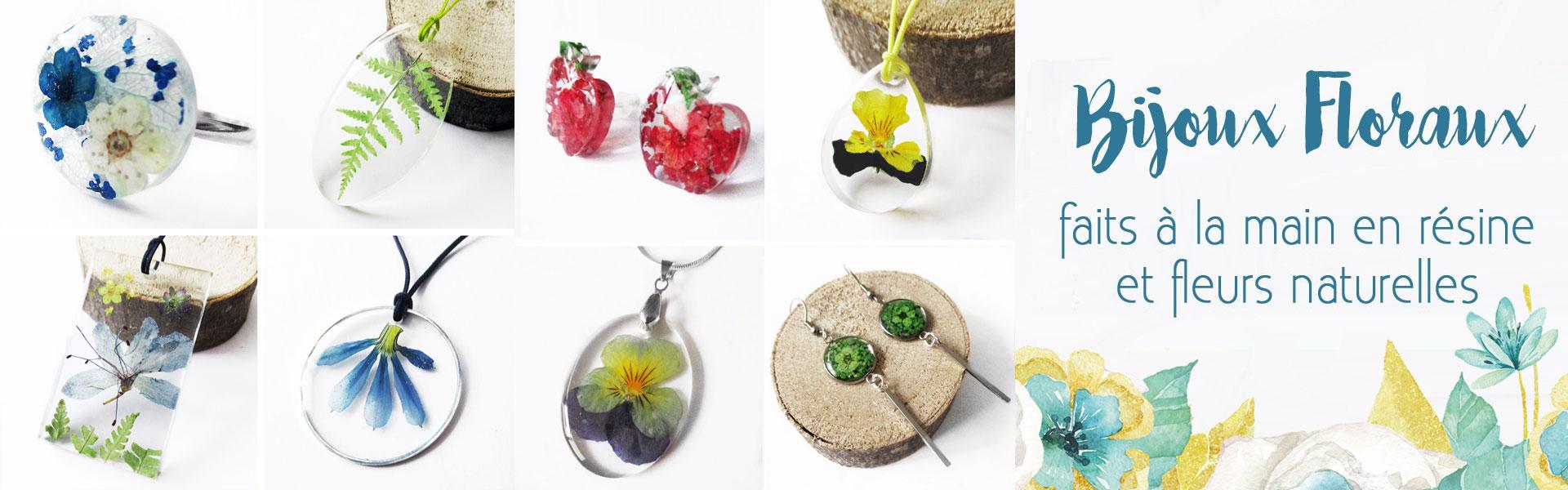 Cadeau nature de bijou floral en résine et fleurs naturelles