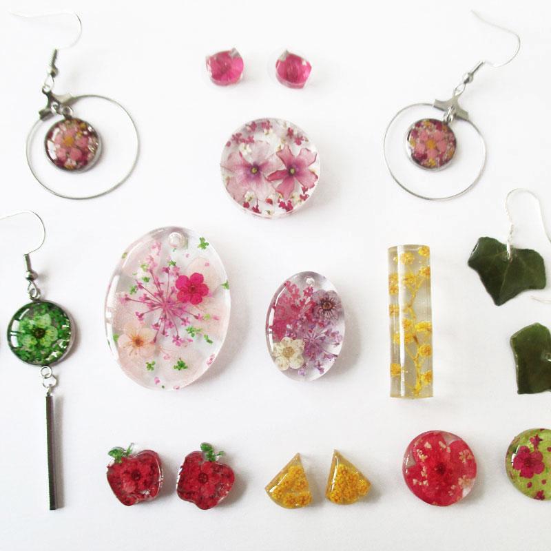 la mode tendance fleurs bijoux nature résine fleurs naturelles