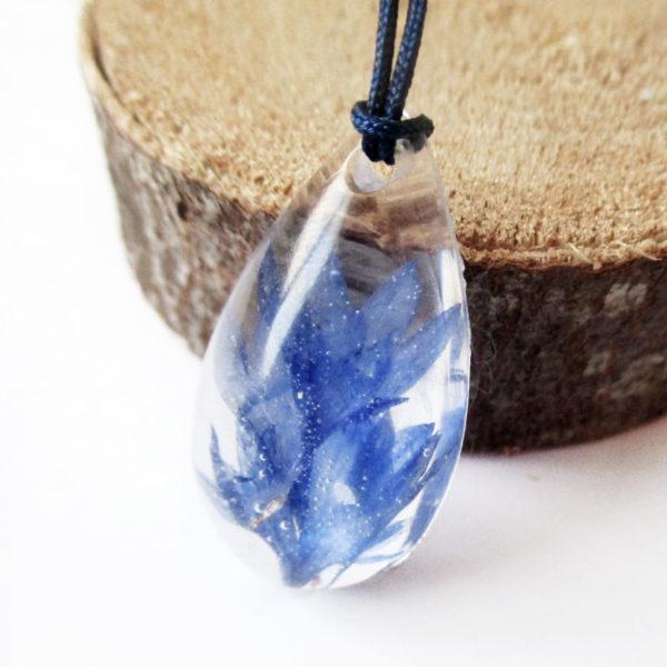pendentif fleurs bleues pétales bleu résine d'inclusion bijou nature fleurs naturelles cadeau floral collier végétal bijou nature femme argent sterling 925