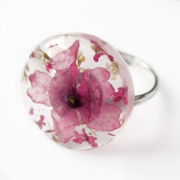 bague awa bijou rose résine fleur naturelle personnalisable-bijou-floral-cadeau-nature-femme bijoux nature
