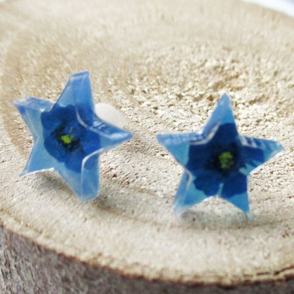 Boucles d'oreilles étoile azur bleu bijou nature en résine d'inclusion et fleurs séchées fait main en france