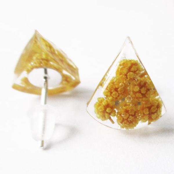Boucles d'oreilles mimosa jaune bijou nature en résine d'inclusion et fleurs séchées fait main en france