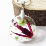 pendentif hazel fleur rose vert résine d'inclusion bijou nature fleurs naturelles cadeau floral collier végétal bijou nature femme argent sterling 925