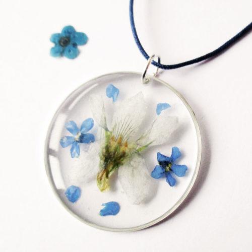 pendentif ysalis résine d'inclusion bijoux nature fleurs naturelles cadeau floral collier végétal bijou lilas femme argent sterling 925