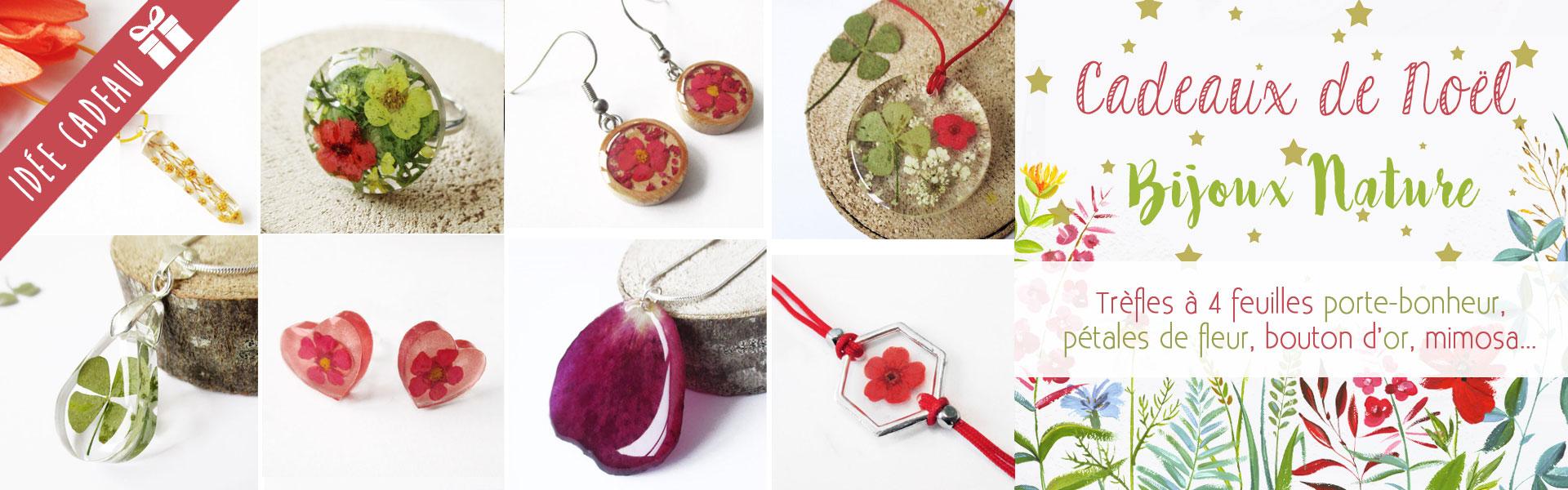 Bijoux nature cadeaux de Noel résine et fleurs naturelles