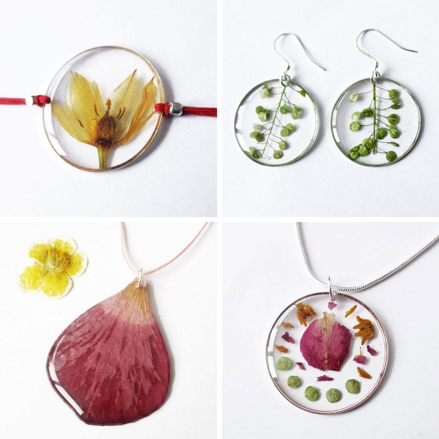bijoux-personnalisés-fleur résine commande sur mesure fabrication artisanale bijou naturel végétal souvenir